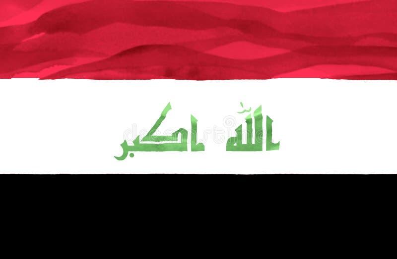 伊拉克的被绘的旗子 库存照片