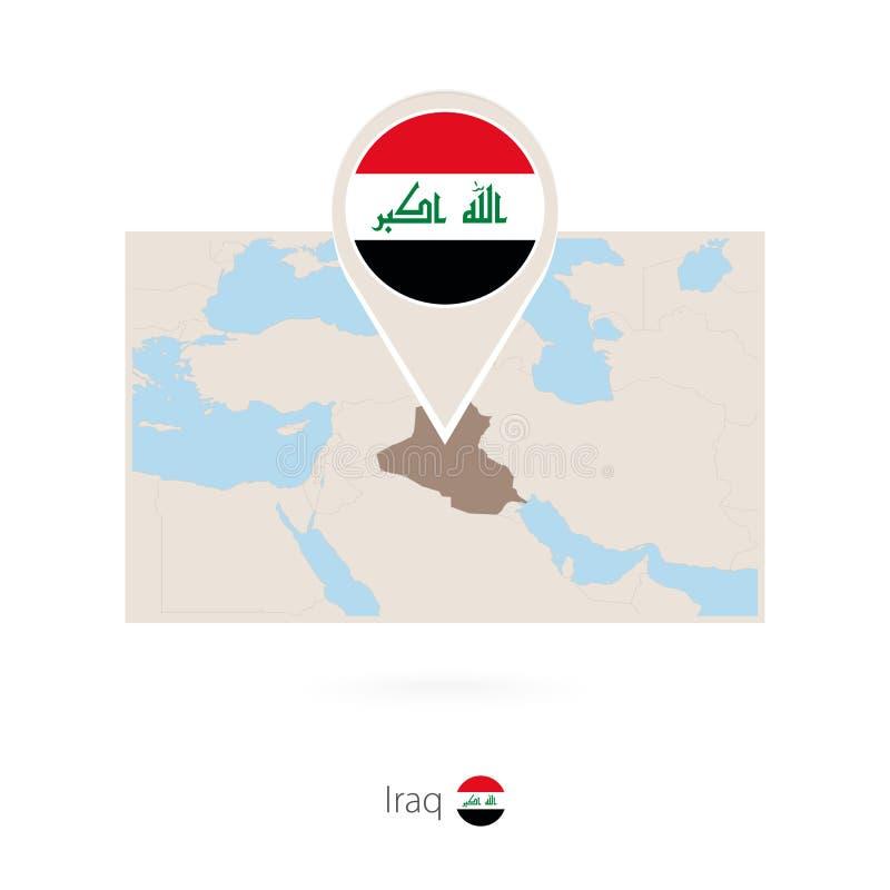 伊拉克的长方形地图有伊拉克的别针象的 皇族释放例证