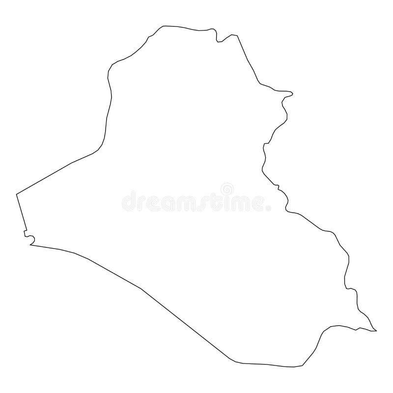 伊拉克-国家区域坚实黑概述边界地图  简单的平的传染媒介例证 库存例证