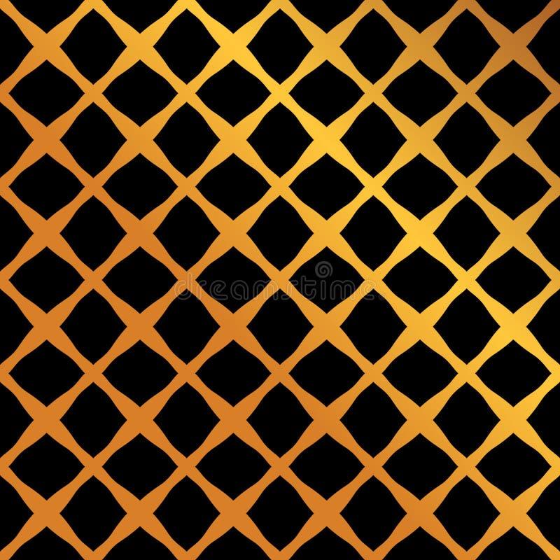 伊斯兰教的东方无缝的样式的豪华设计与颜色黑色和金子 库存例证