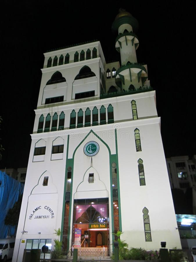 伊斯兰教的中心大厦 回教清真寺,遇见mobbles和精神发展的伊斯兰教徒地方  r 免版税库存图片