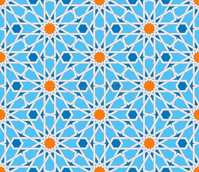 伊斯兰教的几何无缝的样式 土耳其装饰品,传统东方阿拉伯艺术 回教马赛克 五颜六色的向量 库存例证