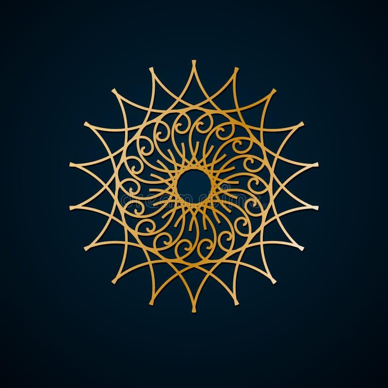伊斯兰教的几何,花卉圆的装饰品,金线的样式 坛场 装饰金样式,东方主题 设计要素例证图象向量 向量例证
