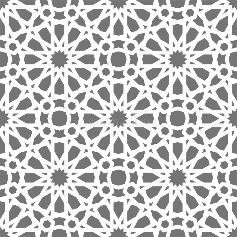 伊斯兰教的无缝的传染媒介样式 根据传统阿拉伯艺术的白色几何装饰品 东方回教马赛克 库存例证