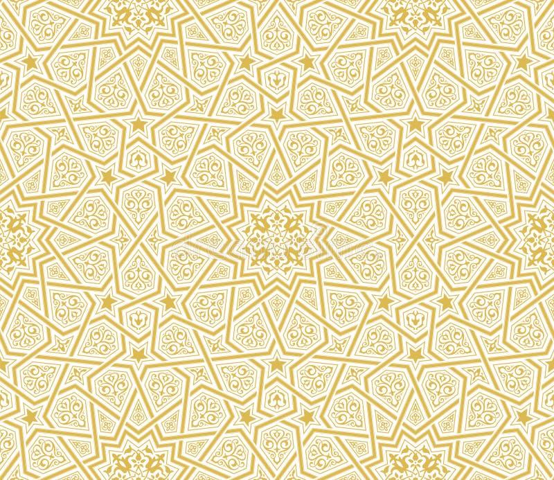 伊斯兰教的星装饰品金黄背景 库存例证