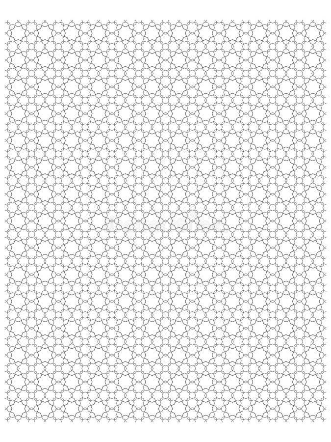 伊斯兰教的样式八角型几何样式黑色在白色背景01中 库存例证