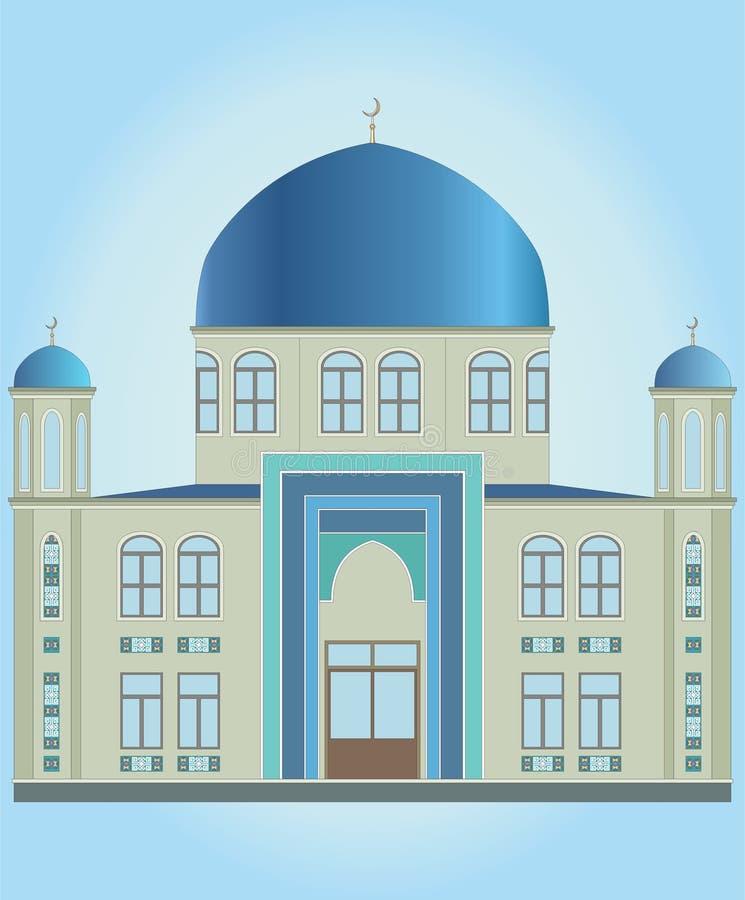 伊斯兰教的清真寺和蓝色圆顶,门 向量例证