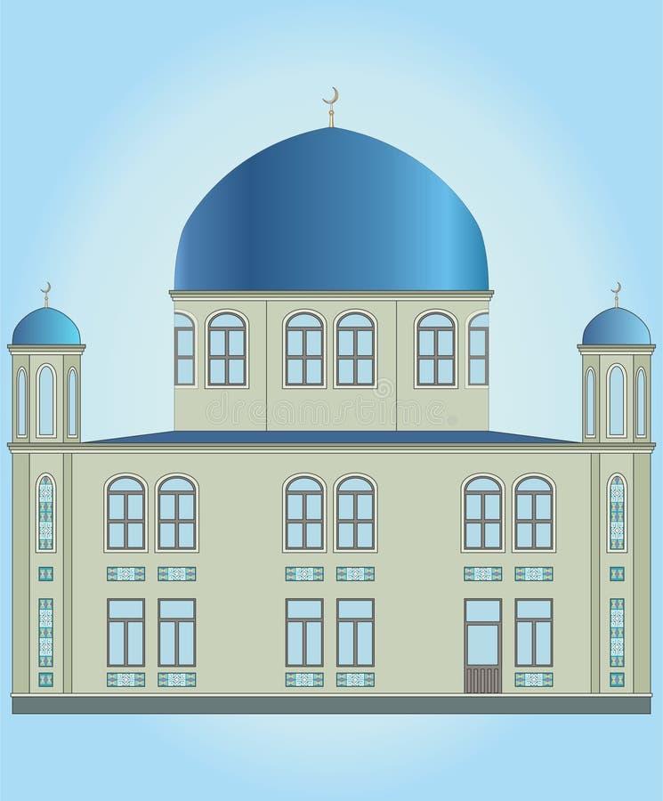 伊斯兰教的清真寺和蓝色圆顶,门 库存例证