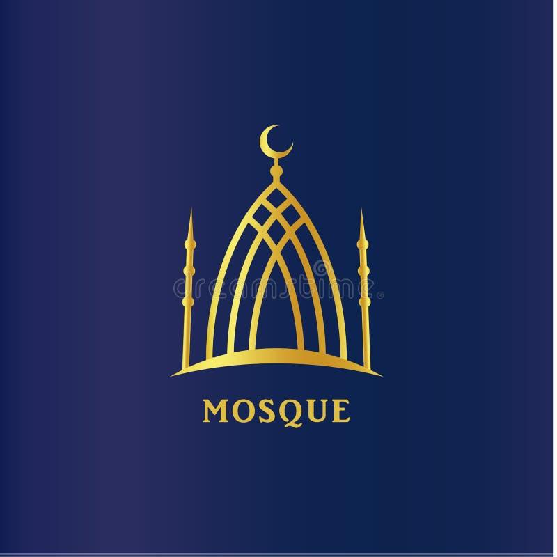 伊斯兰教的清真寺线性剪影 在圆顶,回教标志的Cresent 宗教传染媒介象,在深蓝的商标模板 向量例证