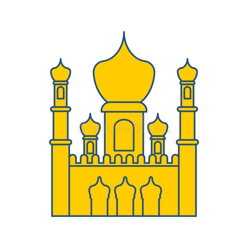 伊斯兰教的清真寺被隔绝的标志 东部装饰品 回教标志 向量 库存例证