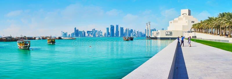伊斯兰教的美术馆,多哈,卡塔尔海边胡同  库存图片