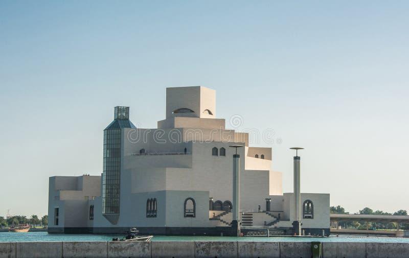 伊斯兰教的艺术博物馆在多哈,卡塔尔,可论证地是多哈的最得奖的建筑象 免版税库存照片