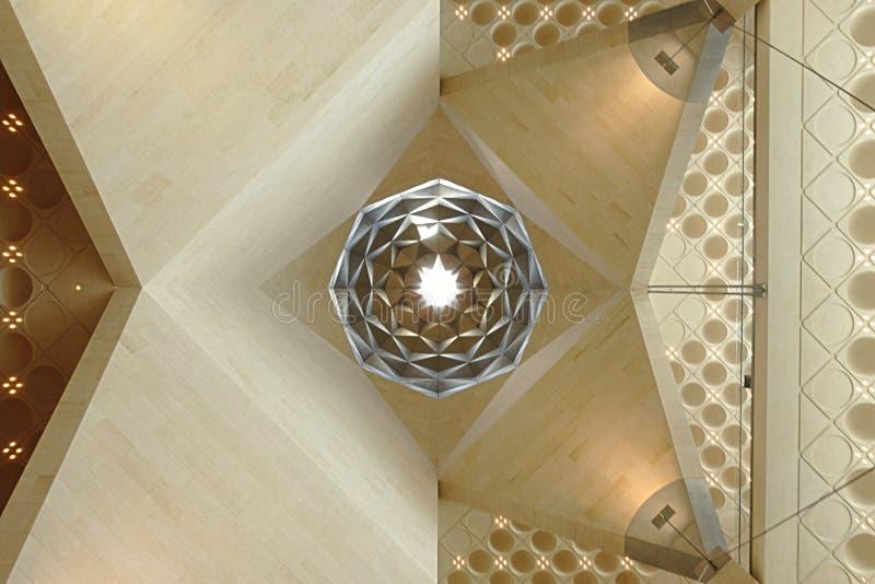 伊斯兰教的艺术博物馆,多哈卡塔尔 内部天花板的细节 库存照片