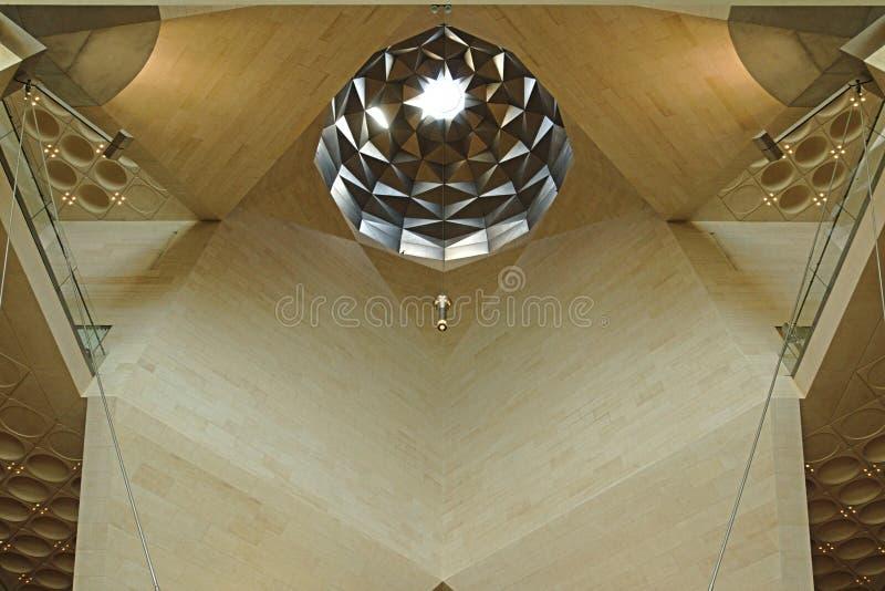 伊斯兰教的艺术博物馆,多哈卡塔尔 内部天花板的细节 免版税库存图片
