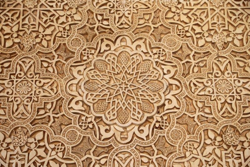 伊斯兰教的(摩尔人) tilework细节在阿尔罕布拉宫,格拉纳达,西班牙 免版税库存照片