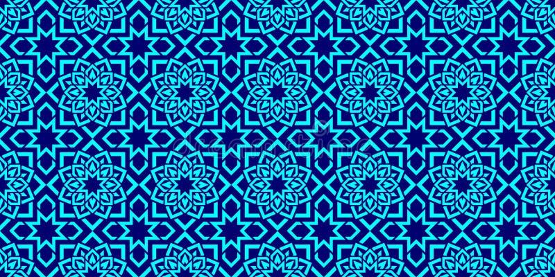 伊斯兰的背景 阿拉伯重复纹理 无缝几何的模式 在东部样式的典雅的纹理 明亮的颜色 Fl 库存例证