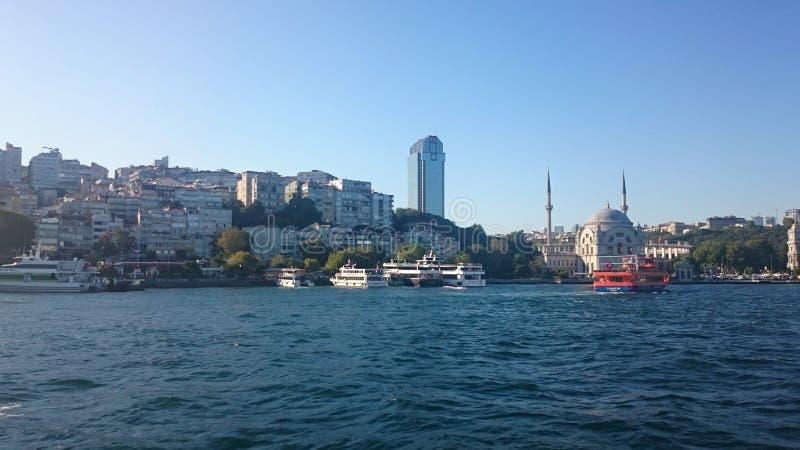 伊斯坦布尔全景 著名旅游目的地Bosphorus海峡渠道全景都市风景  旅行风景 图库摄影