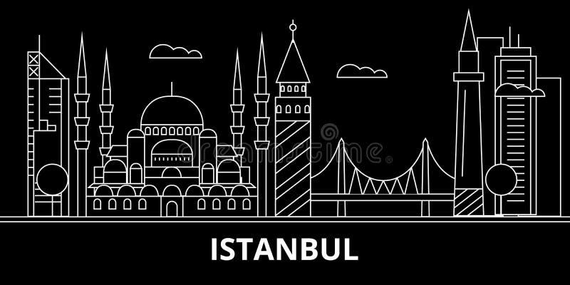 伊斯坦布尔剪影地平线 土耳其-伊斯坦布尔传染媒介城市,土耳其线性建筑学,大厦 伊斯坦布尔旅行 向量例证