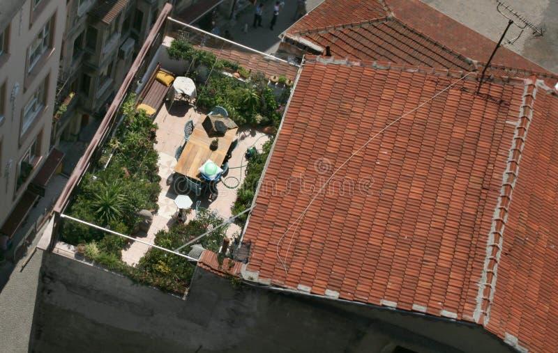伊斯坦布尔屋顶大阳台 库存图片