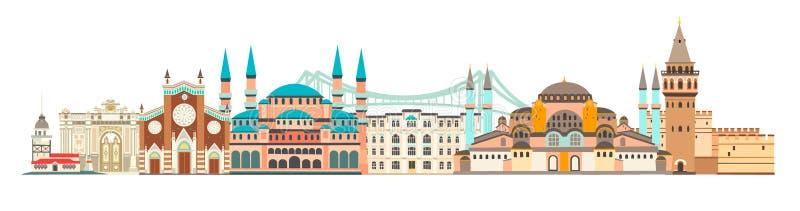 伊斯坦布尔市五颜六色的地平线传染媒介例证 与地标的风景 库存例证