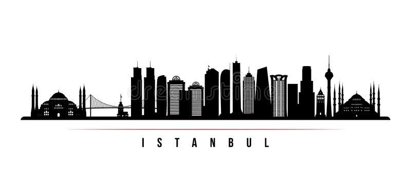 伊斯坦布尔市地平线水平的横幅 伊斯坦布尔黑白剪影  向量例证
