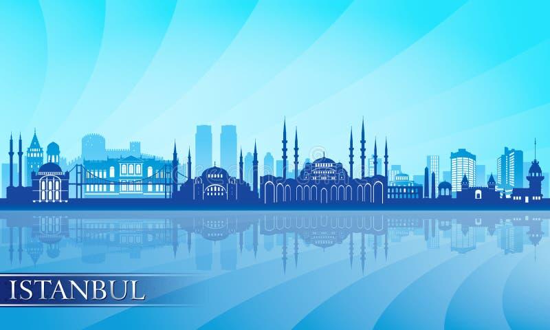 伊斯坦布尔市地平线详细的剪影 向量例证