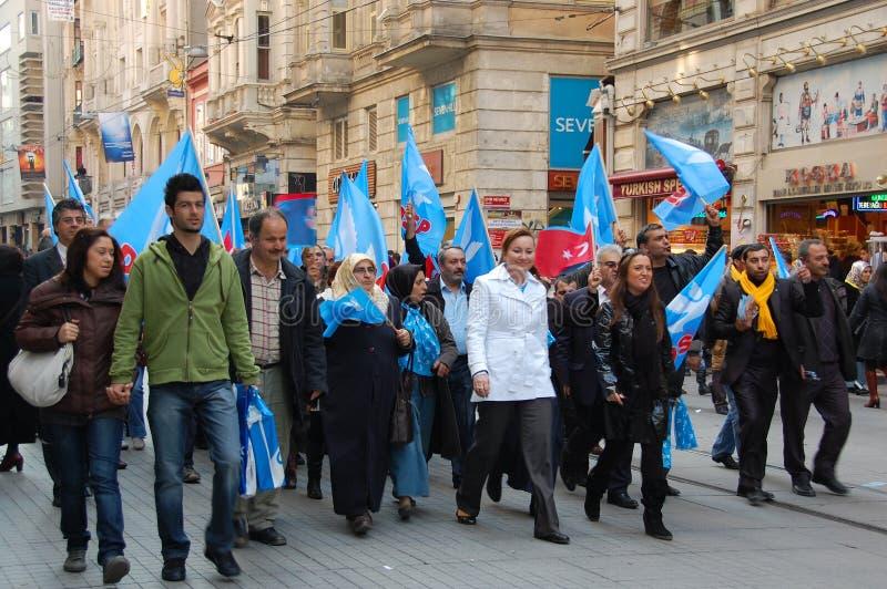 伊斯坦布尔当事人政治集会 库存照片