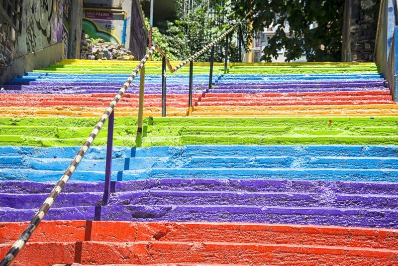 伊斯坦布尔彩虹台阶 库存照片