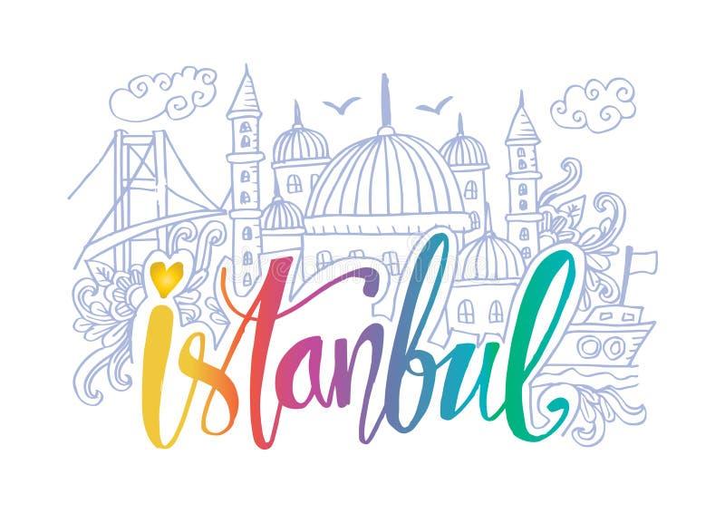 伊斯坦布尔的手拉的标志 库存例证