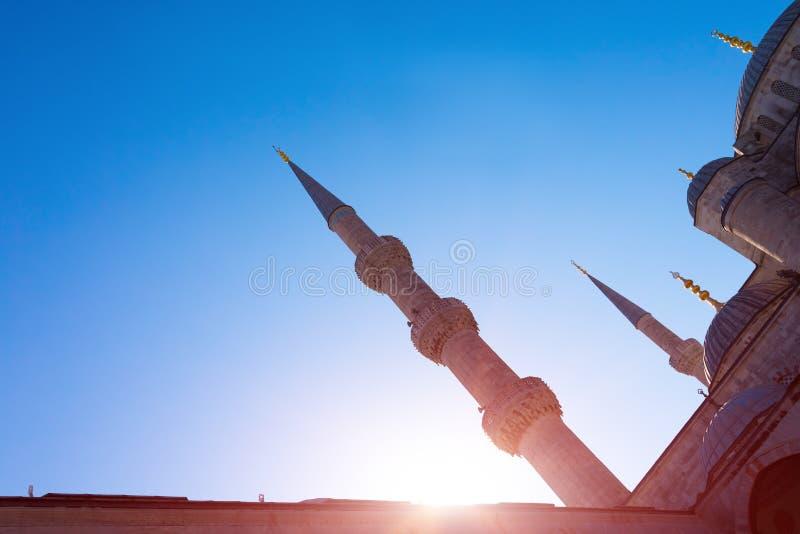 伊斯坦布尔苏丹Ahmet角度图播种了圆顶和尖塔 免版税库存照片