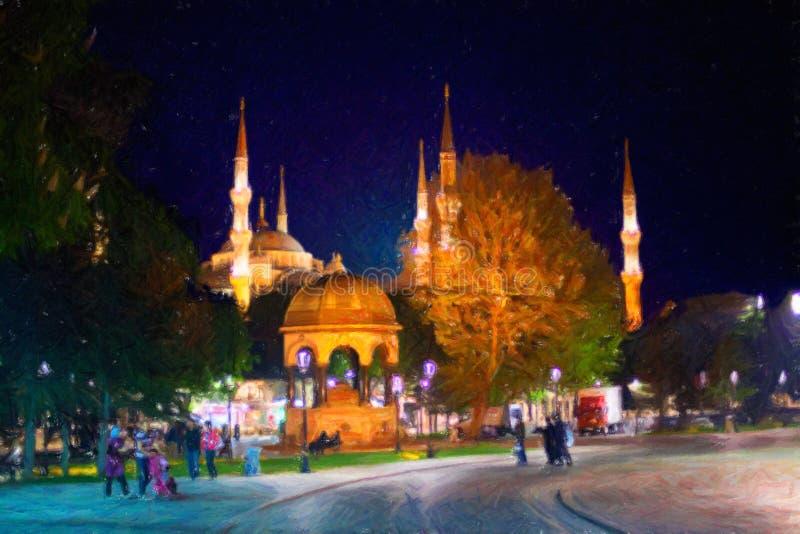伊斯坦布尔街道在晚上 蓝色清真寺 免版税库存图片