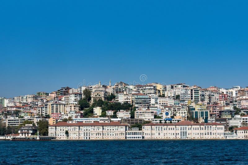 伊斯坦布尔都市风景观察从海 免版税库存图片