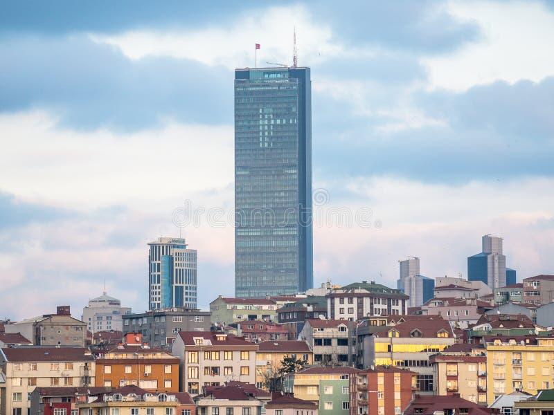伊斯坦布尔青玉或者青玉,是摩天大楼,和在2016年,在Ist的高楼 库存照片