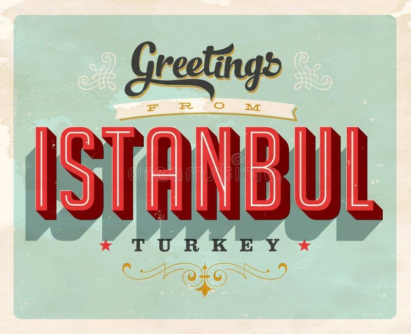 从伊斯坦布尔,土耳其的葡萄酒问候假期卡片 向量例证