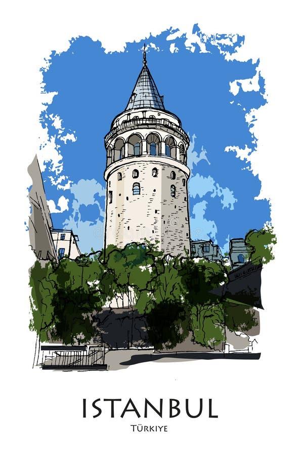 伊斯坦布尔,土耳其-加拉塔塔 手创造了剪影 库存例证