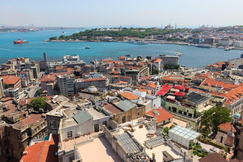 伊斯坦布尔,土耳其/2016年5月9日:伊斯坦布尔和博斯普鲁斯海峡风景城市视图从加拉塔塔的 图库摄影