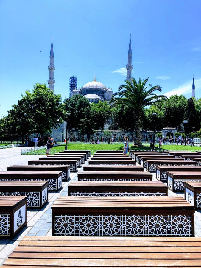 伊斯坦布尔,土耳其 苏丹Ahmet Camii广场 免版税库存图片