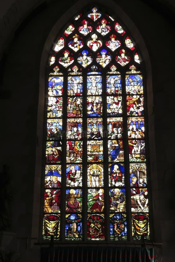 伊方迪克,法国- 2016年9月9日:在Th的污迹玻璃窗 库存图片
