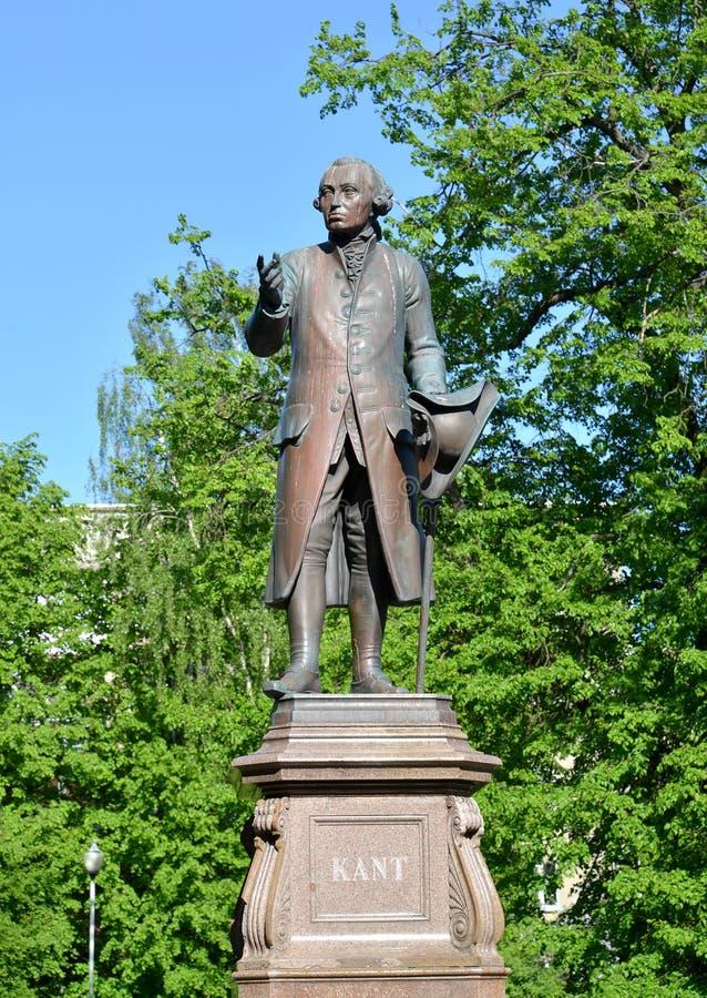 伊曼努尔・康德` s雕塑在明亮的劳动节 加里宁格勒 图库摄影