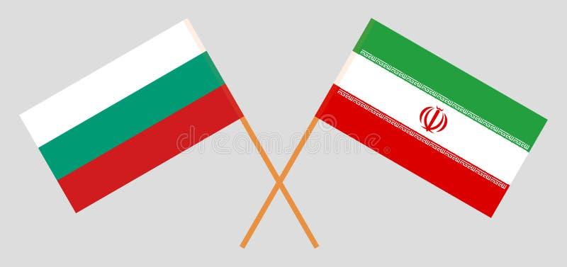 伊朗和保加利亚 伊朗和保加利亚旗子 正式颜色 正确比例 向量 皇族释放例证