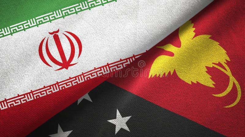 伊朗和巴布亚新几内亚两旗子纺织品布料,织品纹理 库存例证