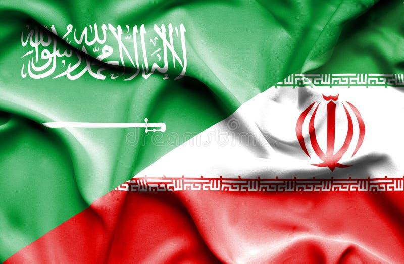 伊朗和沙特阿拉伯的挥动的旗子 向量例证