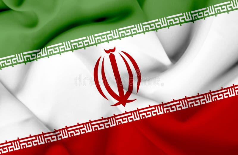 伊朗挥动的旗子 库存例证