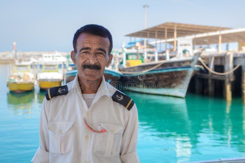 伊朗海岛Hormuz,波斯湾,船长的画象 免版税库存照片