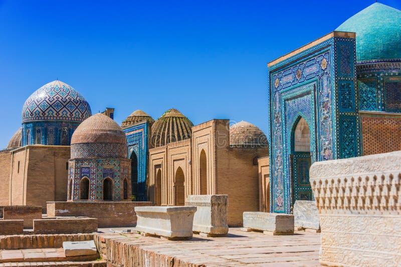 伊朗王我Zinda,一块大墓地在撒马而罕,乌兹别克斯坦 免版税库存照片