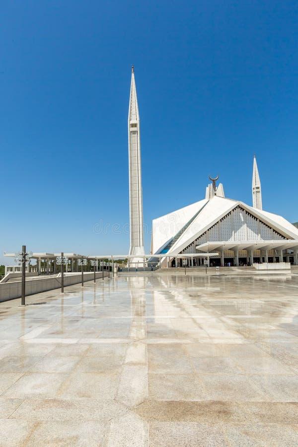 伊朗王费萨尔清真寺在伊斯兰堡,巴基斯坦 免版税库存照片