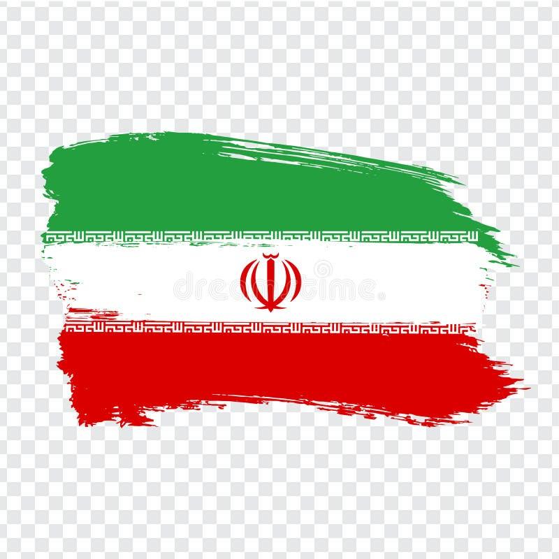 伊朗的旗子伊朗伊斯兰共和国从刷子冲程的 在透明背景您的网站设计的,商标,应用程序,UI的旗子伊朗 向量例证