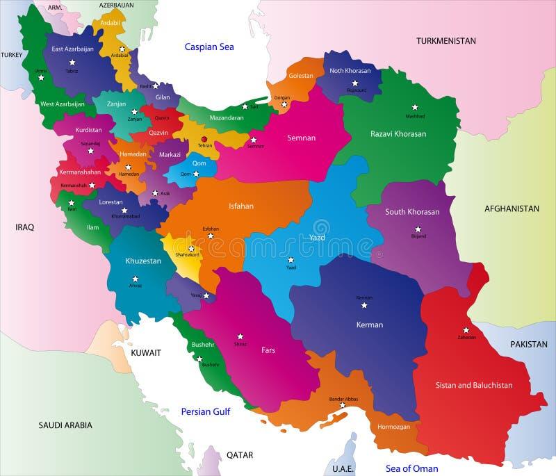 伊朗的映射 向量例证