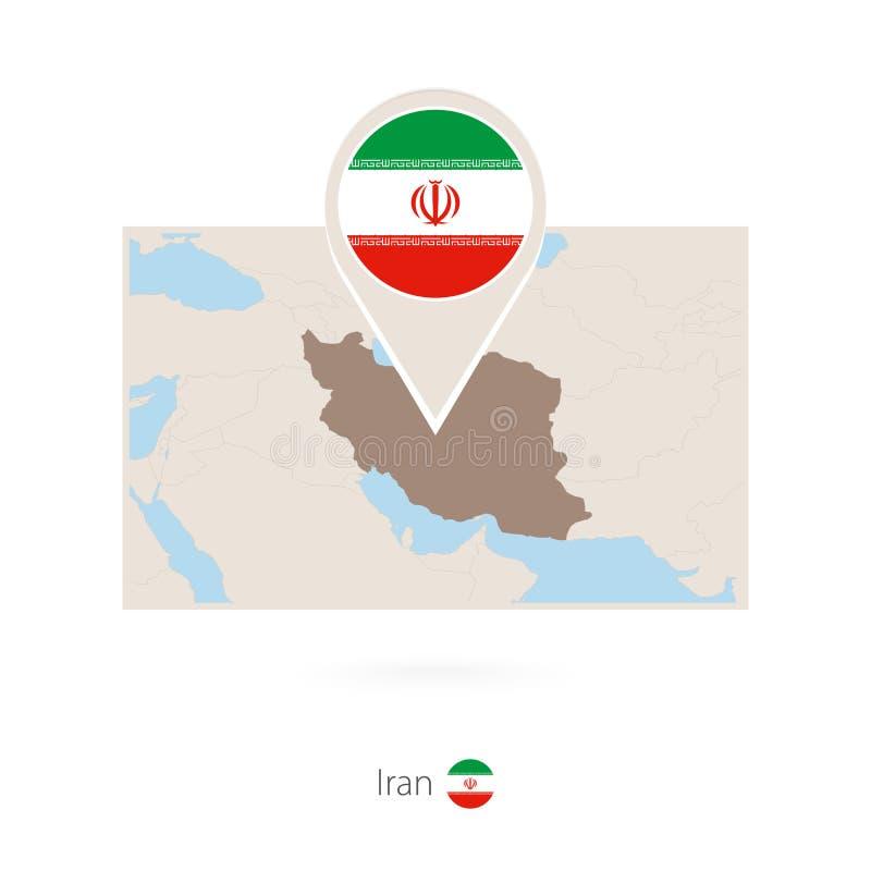 伊朗的长方形地图有伊朗的别针象的 向量例证