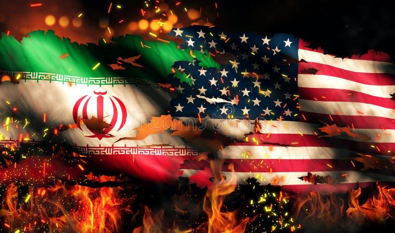 伊朗美国下垂兵连祸结的火国际冲突3D 皇族释放例证